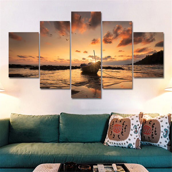 5 panel boat at sunset canvas wall art by panelwallart.com