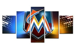 5 Panel  Miami Marlins Sports Team Art canvas wall art by panelwallart.com