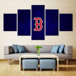 5 Panel  Boston Red Sox (Blue Background) canvas wall art by panelwallart.com