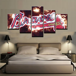 5 Panel  Atlanta Braves canvas wall art by panelwallart.com