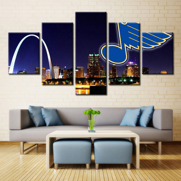 5 Panel 5 Panel St. Louis Blues (Night View) Ice Hockey Sports Canvas Prints by www.PanelWallArt.com