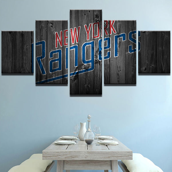 5 Panel New York Rangers Ice Hockey NHL (Wood) Ice Hockey Sports Canvas Prints by www.PanelWallArt.com