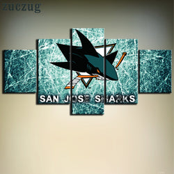 5 Panel San Jose Sharks NHL Team (Green Ice Rink) Ice Hockey Sports Canvas Prints by www.PanelWallArt.com