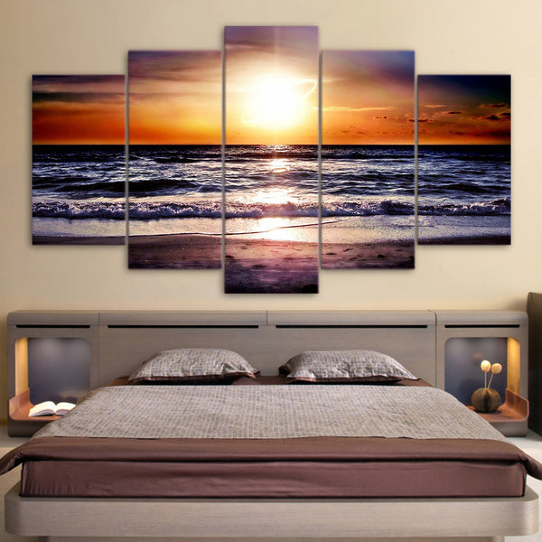 5 panel sunset at beach canvas wall art by panelwallart.com