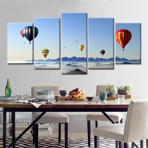 5 panel flowers natures hot air balloon scenery canvas panel wall art by panelwallart.com
