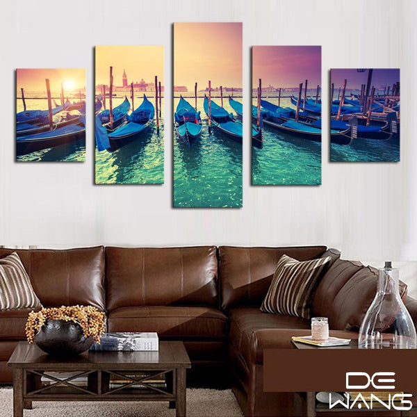 5 panel boat canvas wall art by panelwallart.com