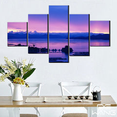 5 panel purple sky canvas wall art by panelwallart.com