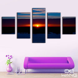 5 Panel Seascape, Big, Sunset Canvas Wall Art by panelwallart.com
