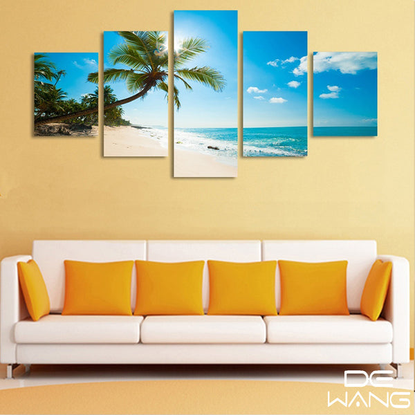 5 panel sandy beach and palm tree canvas wall art by panelwallart.com