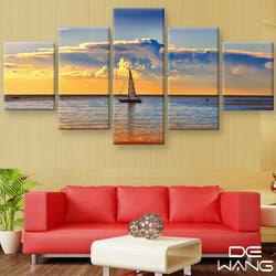 5 Panel Boat, Big, Seascape, Sunset Canvas Wall Art by panelwallart.com