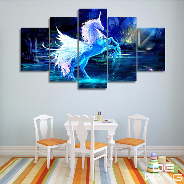 5 pieces canvas wall art of a blue unicorn
