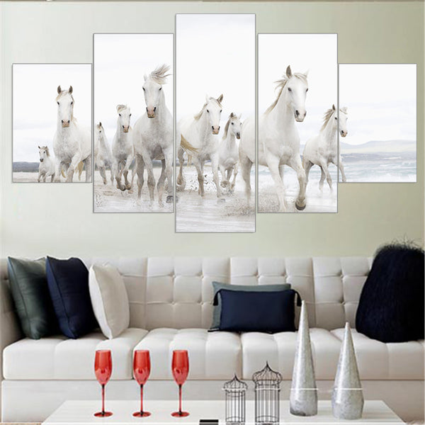 many white horses canvas wall art