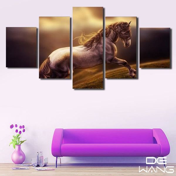 5 Panel Canvas Wall Art | Brown Horse | PanelWallArt.com