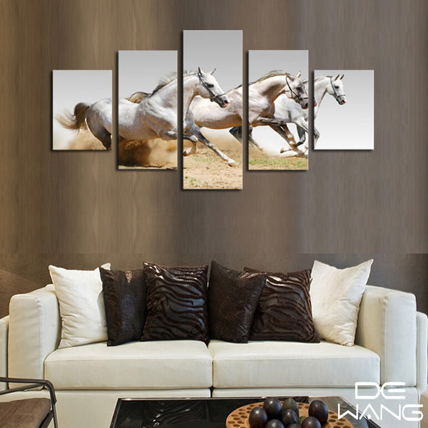 3 white horse running 5 panel framed canvas wall art