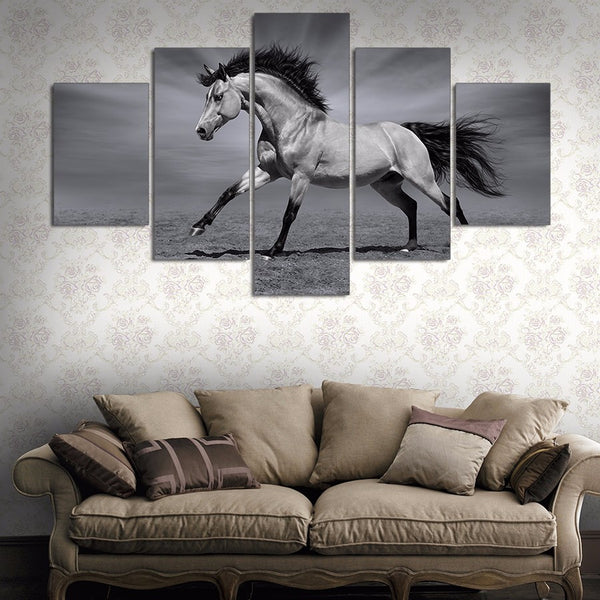 5 pcs Running Horses in Black And White canvas wall art