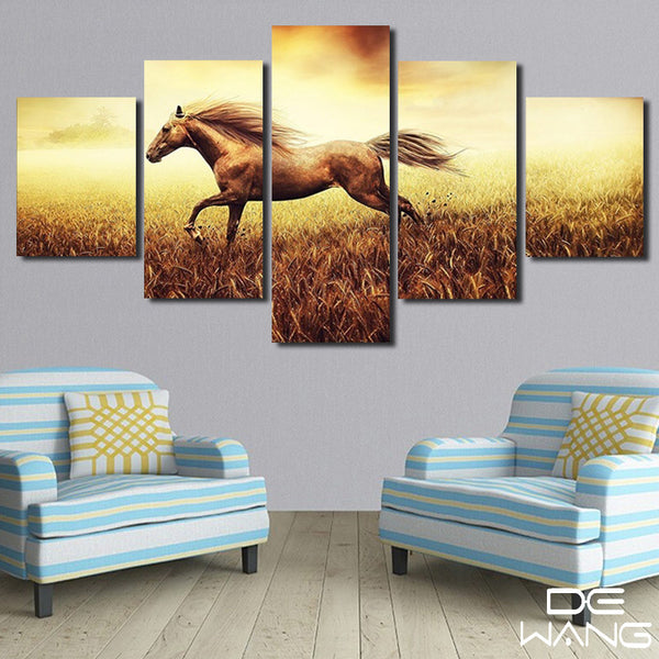 5 Panel Canvas Wall Art | The Fast Running Horse | PanelWallArt.com