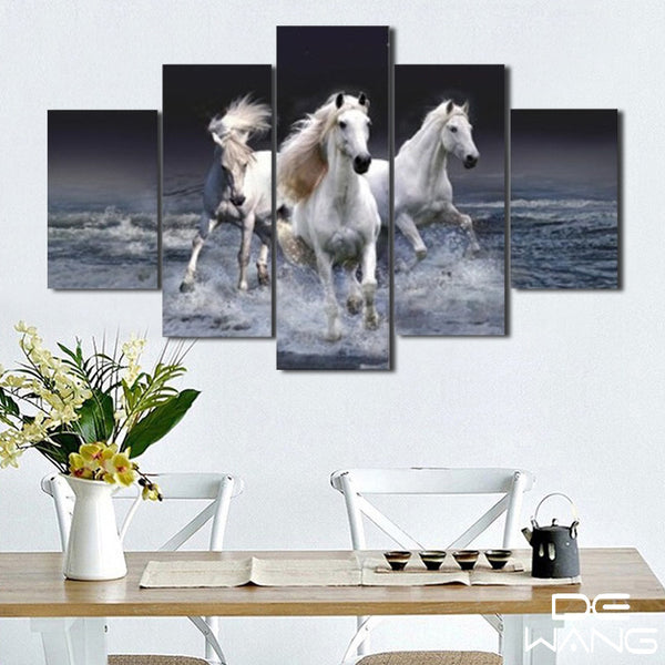 5 panel of 3 white running horses canvas art