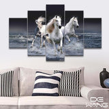 3-white-horses 5 Pieces Canvas Wall Art by panelwallart.com Amazon Free Shipping