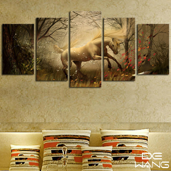 5pcs White Running Horse in the Forest | PanelWallArt.com