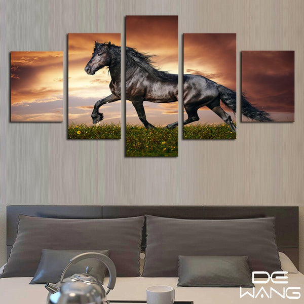 5 Panel Canvas Wall Art | Black Ferghana Horse | PanelWallArt.com