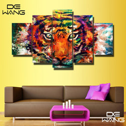 5 Panel Modern, Big, Tiger Canvas Wall Art by panelwallart.com