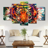 colourful-tiger 5 Pieces Canvas Wall Art by panelwallart.com Amazon Free Shipping