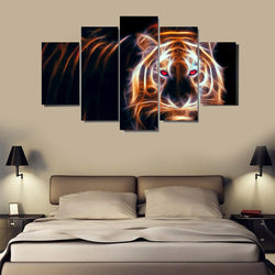 5 Panel Animals, Modern, Big, Tiger Canvas Wall Art by panelwallart.com