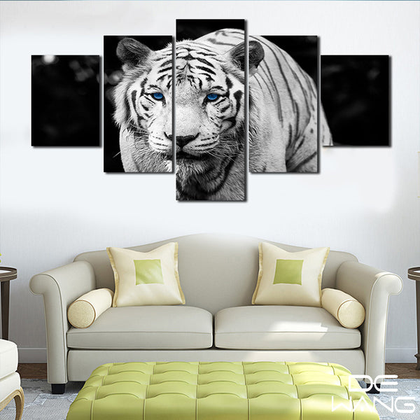 5 Panel Animals, Tiger Canvas Wall Art by panelwallart.com