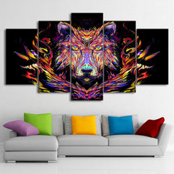 5 Panel Animals, Modern, Big, Wolf Canvas Wall Art by panelwallart.com