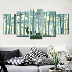 5 Panel Animals, Nursery Canvas Wall Art by panelwallart.com
