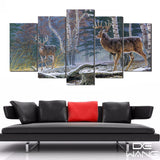 5 Panel Animals, Big Canvas Wall Art by panelwallart.com