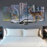 deer-in-forest 5 Pieces Canvas Wall Art by panelwallart.com Amazon Free Shipping