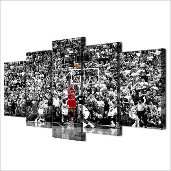 5 Panel Basketball, Big Canvas Wall Art by panelwallart.com