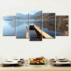 5 Panel Lake, Big, Landscape, Mountains Canvas Wall Art by panelwallart.com