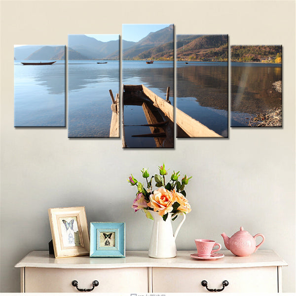 5 panel lake and bridge canvas panel wall art by panelwallart.com