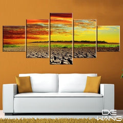 5 panel yellow sunset canvas wall art by panelwallart.com