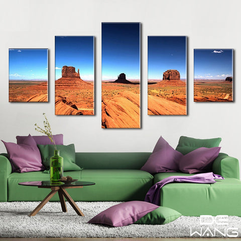 5 Panel Desert, Big, Landscape, Sky Canvas Wall Art by panelwallart.com