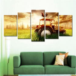 5 Panel Cityscape, Big, Sky Canvas Wall Art by panelwallart.com