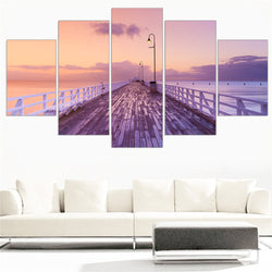 5 Panel Bridge, Big, Seascape, Sunset Canvas Wall Art by panelwallart.com