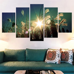 5 Panel Flowers, Big, Landscape Canvas Wall Art by panelwallart.com