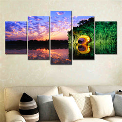 5 Panel Lake, Big, Landscape Canvas Wall Art by panelwallart.com