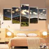 dark-green-steep-mountains-and-white-clouds 5 Pieces Canvas Wall Art by panelwallart.com Amazon Free Shipping