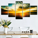 blue-sky-and-ocean-sunset 5 Pieces Canvas Wall Art by panelwallart.com Amazon Free Shipping