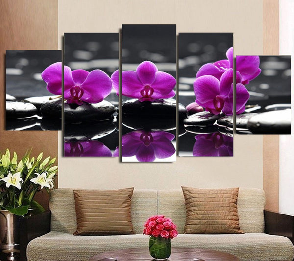 5 pieces flower canvas wall art by panelwallart.com