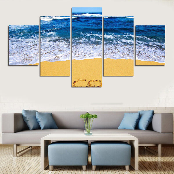 Modern 5 Panel Sea Wave at Beach Canvas Art