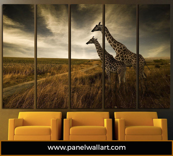 5 panel giraffe canvas wall art print by panelwallart.com