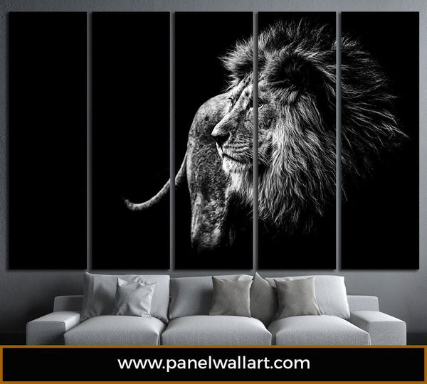 5 panel lion canvas wall art black and white lion panelwallart.com