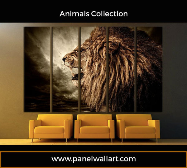 5 1 panel lion roars canvas wall art lion wallpaper panelwallart.com