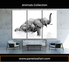 3 panel elephant canvas wall art by panelwallart.com