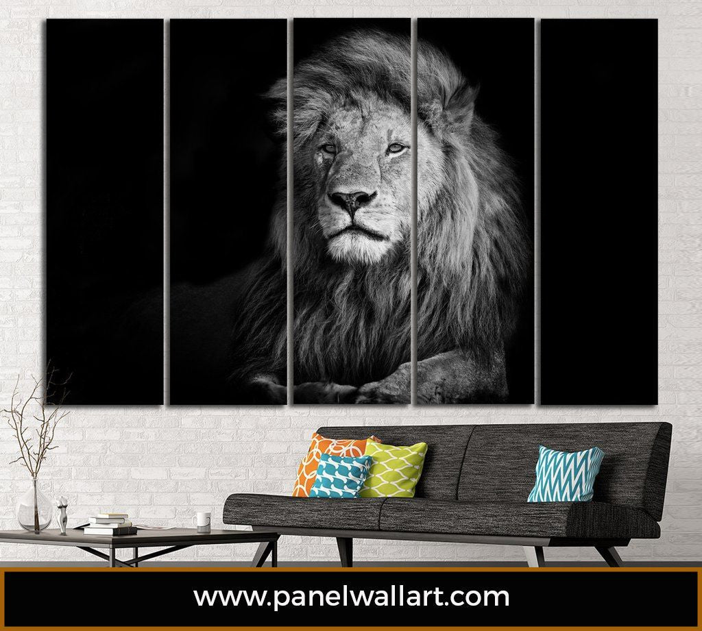 5 Panel Black and White Lions Canvas Wall Art by panelwallart.com
